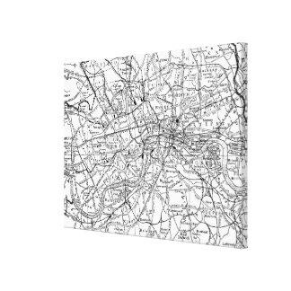 Vintagekarta av London England (1911) Canvastryck