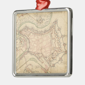 Vintagekarta av Luxembourg (1686) Silverfärgad Fyrkantigt Julgransprydnad