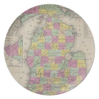 Vintagekarta av Michigan (1853) Tallrik