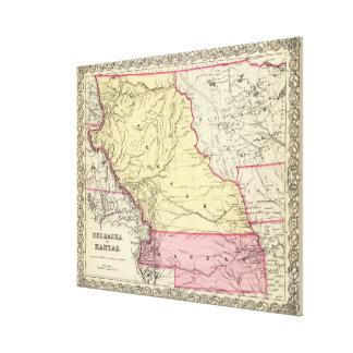 Vintagekarta av Nebraska och Kansas (1856) Canvastryck