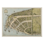 Vintagekarta av New Amsterdam (1660) Poster
