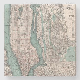 Vintagekarta av New York (1897) Underlägg Sten