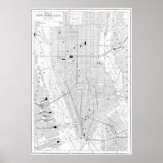 Vintagekarta av New York City 1911 Affischer