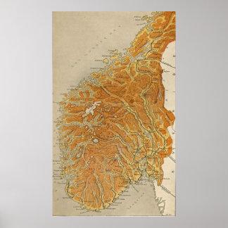 Vintagekarta av Norge (1914) Affischer