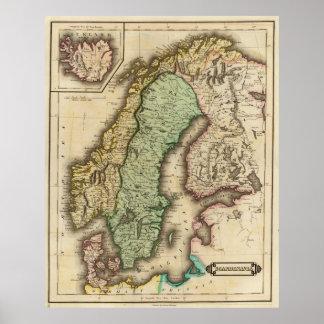 Vintagekarta av norgen och sverigen (1831) poster