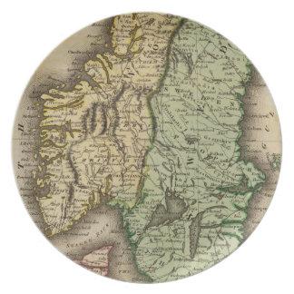 Vintagekarta av norgen och sverigen (1831) tallrik
