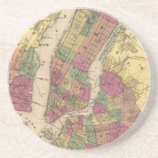 Vintagekarta av NYC och Brooklyn (1868) Underlägg