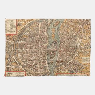 Vintagekarta av Paris (1575) Kökshandduk