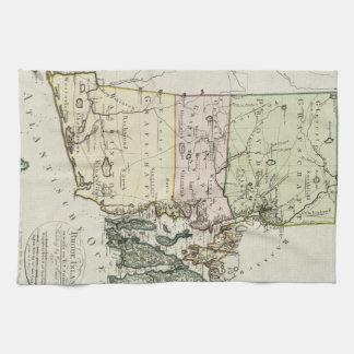 Vintagekarta av Rhode - ö (1797) Kökshandduk