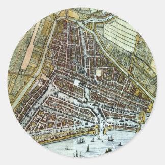 Vintagekarta av Rotterdam Nederländerna (1649) Runt Klistermärke