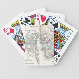 Vintagekarta av savannahen och Charleston (1855) Spelkort