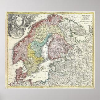 Vintagekarta av skandinavien (1730) posters