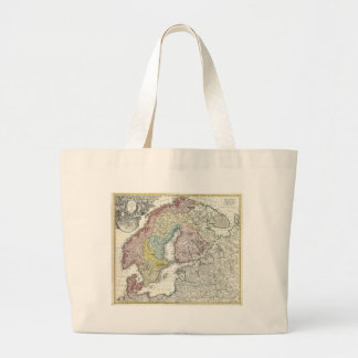 Vintagekarta av skandinavien (1730) tygkasse