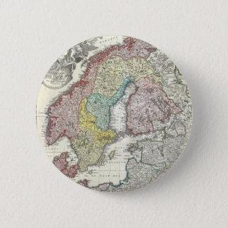 Vintagekarta av skandinavien (1730) standard knapp rund 5.7 cm
