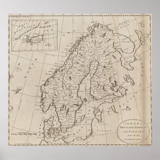 Vintagekarta av skandinavien (1800) print
