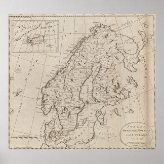 Vintagekarta av skandinavien 1800 print
