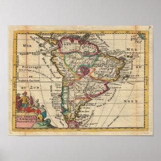 Vintagekarta av South America (1747) Poster