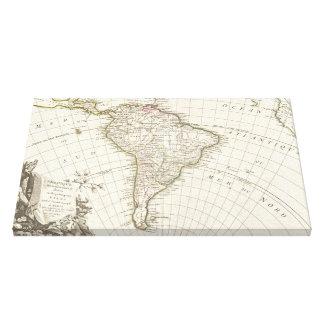 Vintagekarta av South America (1762) Canvastryck