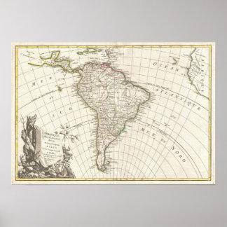 Vintagekarta av South America (1762) Poster