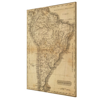 Vintagekarta av South America (1825) Canvastryck