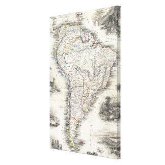 Vintagekarta av South America (1850) Canvastryck