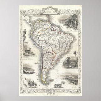 Vintagekarta av South America (1850) Poster