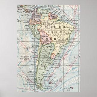 Vintagekarta av South America (1901) Poster