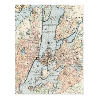 Vintagekarta av Stockholm (1733) Vykort