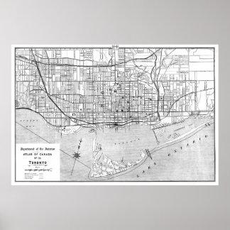 Vintagekarta av Toronto (1906) BW Poster