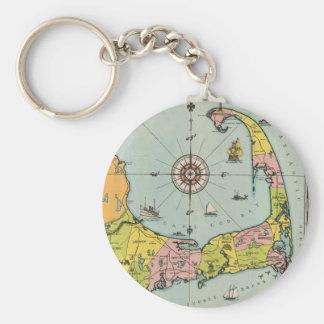 Vintagekarta av uddtorsk rund nyckelring