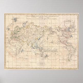 Vintagekarta av världen (1799) poster