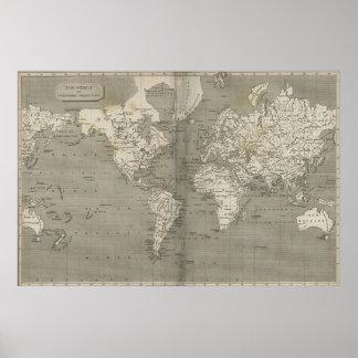 Vintagekarta av världen (1820) 2 poster