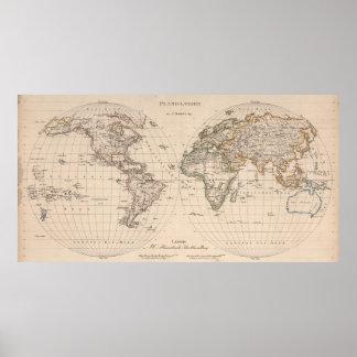 Vintagekarta av världen (1827) 2 poster