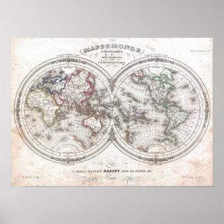 Vintagekarta av världen (1848) poster