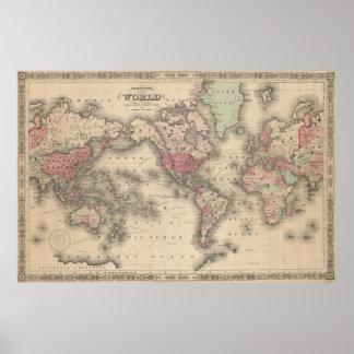 Vintagekarta av världen (1864) poster