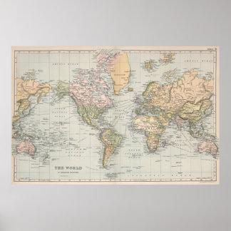Vintagekarta av världen (1892) poster