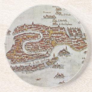 Vintagekarta av Venedig (1649) Underlägg Sandsten