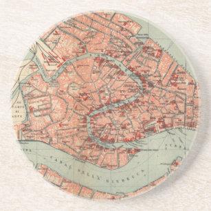 Vintagekarta av Venedig Italien (1920) Underlägg Sandsten