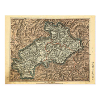 Vintagekartafrankriken Alpes Hautes Vykort