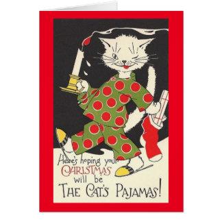 Vintagekatt julkort för Pajamas Hälsningskort