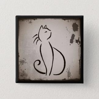 Vintagekatt Whiskers knäppas Standard Kanpp Fyrkantig 5.1 Cm