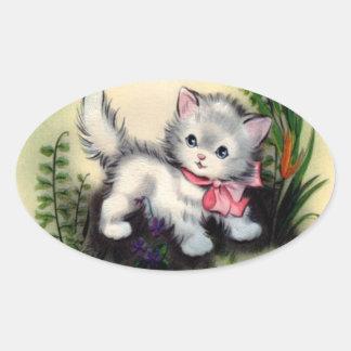 Vintagekattungeklistermärke Ovalt Klistermärke