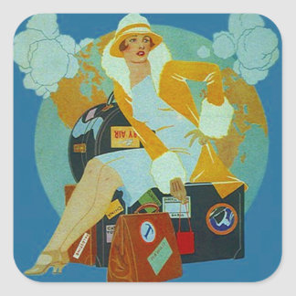 VintageklistermärkeJet-Setteren reser Fyrkantigt Klistermärke