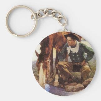 Vintagekonst, Cowboy som bevattnar hans häst vid Rund Nyckelring