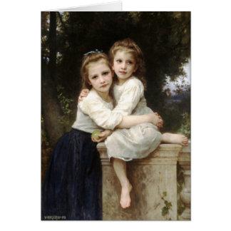 Vintagekonst för två systrar vid det Bouguereau Hälsningskort