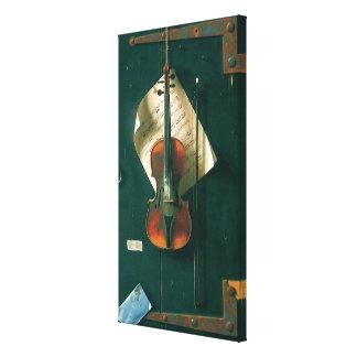 Vintagekonst, gammalt fiolstilleben vid Harnett Canvastryck