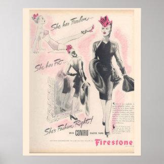 Vintagekorsettannonsering, Firestone Poster