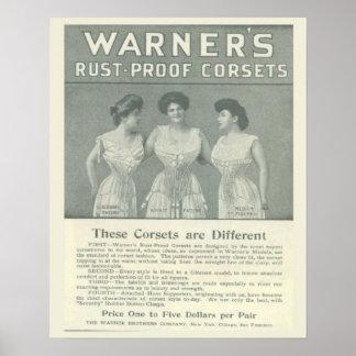 Vintagekorsettannonseringen, Warners rostar motstå Poster