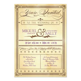 Vintagekräm & brun affischbröllopinbjudan anpassningsbara inbjudningskort