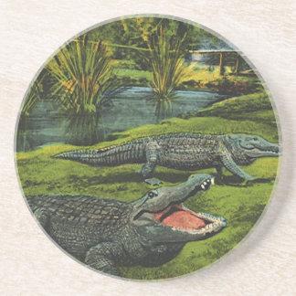 Vintagekrokodiler, marin- livdjur, reptilar underlägg sandsten